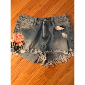 New miss guided Flower embroidered shorts